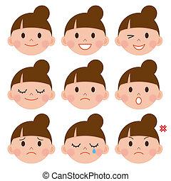 conjunto, de, caricatura, cara, emociones