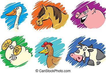 conjunto, de, caricatura, cultive animales