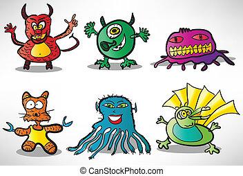 conjunto, de, caricatura, divertido, monstruos, 2