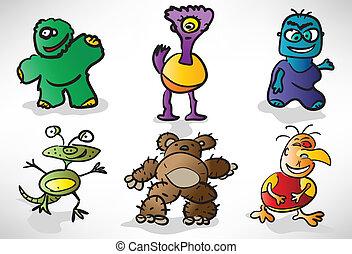 conjunto, de, caricatura, divertido, monstruos