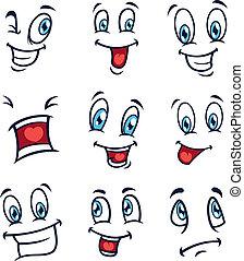 conjunto, de, caricatura, expresión
