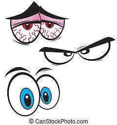 conjunto, de, caricatura, ojos, vector