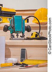 conjunto, de, carpintería, herramientas