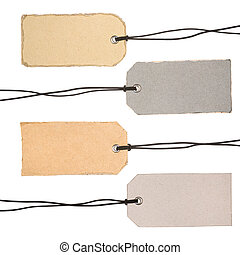 conjunto, de, cartón, etiquetas