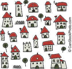conjunto, de, casas, bosquejo, para, su, diseño