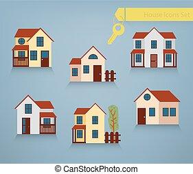conjunto, de, casas