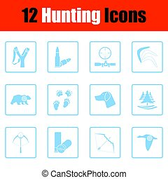 conjunto, de, caza, iconos