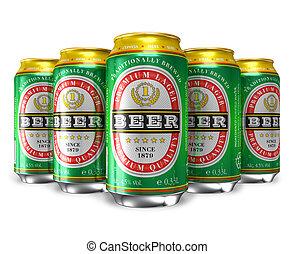 conjunto, de, cerveza, latas