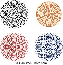conjunto, de, chino, luna, pastel, patrón, blanco, vector