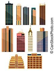 conjunto, de, ciudad, edificios