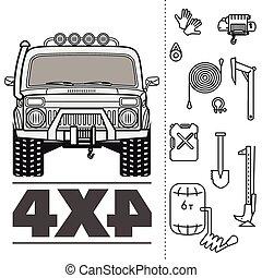conjunto, de, coche, camión, 4x4, camino, icono