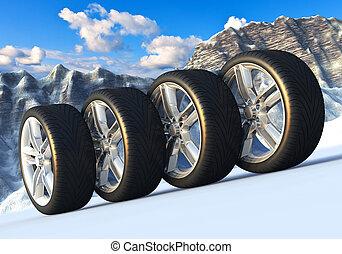 conjunto, de, coche, ruedas, en, nevoso, montañas