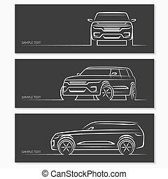 conjunto, de, coche, silhouettes.