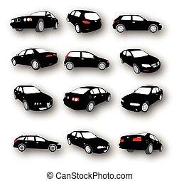 conjunto, de, coche, siluetas, vector