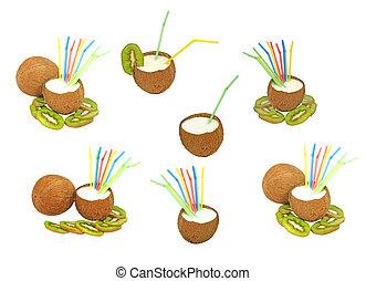 conjunto, de, cocos, con, un, milk-, sacudida, y, kiwi.isolated.