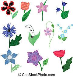 conjunto, de, collage, flores