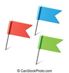 conjunto, de, color, bandera, alfileres