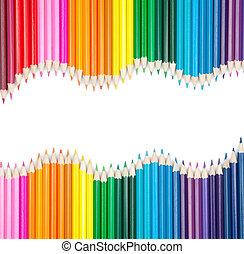 conjunto, de, color, lápices, con, copyspace