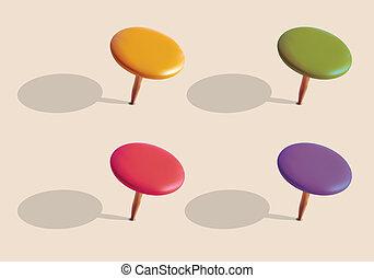 conjunto, de, color, pins., vector