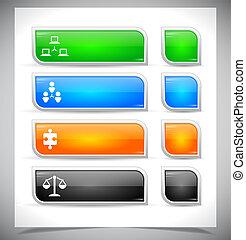 conjunto, de, color, plástico, botones, para, web.
