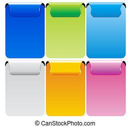 conjunto, de, color, vector, bandera
