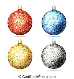 conjunto, de, coloreado, brillante, resplandor, navidad, pelotas, .