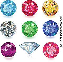 conjunto, de, coloreado, gemas