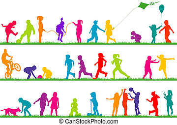 conjunto, de, coloreado, niños, siluetas, juego, al aire...