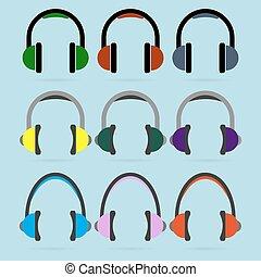 conjunto, de, colorido, auricular, iconos
