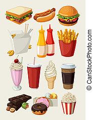conjunto, de, colorido, caricatura, comida rápida, yo