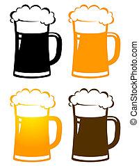 conjunto, de, colorido, cerveza, jarras, con, espuma