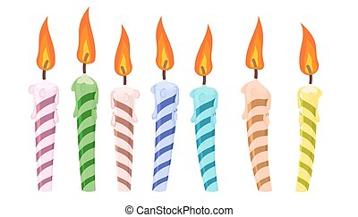 conjunto, de, colorido, cumpleaños, candles.