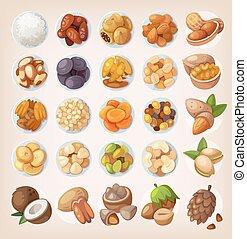 conjunto, de, colorido, fruta, y, nuts.