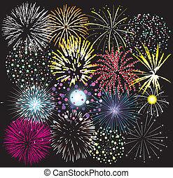 conjunto, de, colorido, fuegos artificiales