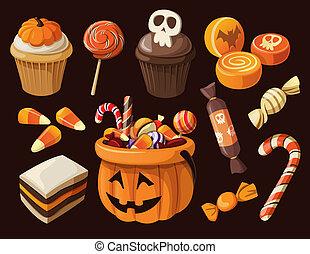 conjunto, de, colorido, halloween, dulces