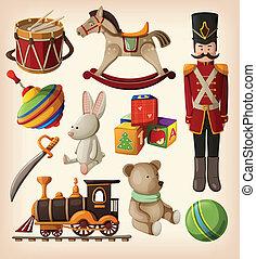 conjunto, de, colorido, juguetes de la vendimia