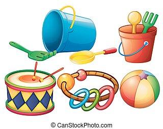 conjunto, de, colorido, juguetes