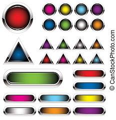 conjunto, de, colorido, metal, botones