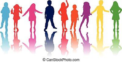 conjunto, de, colorido, niños, siluetas, .