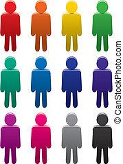 conjunto, de, colorido, símbolos, de, gente