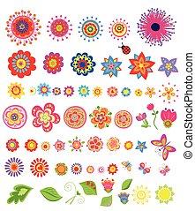 conjunto, de, colorido, verano, flores