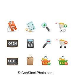 conjunto, de, compras, iconos
