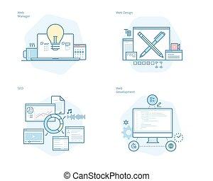 conjunto, de, concepto, línea, iconos, para, diseño telaraña, y, desarrollo, seo, tela, director