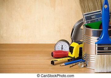 conjunto, de, construcción, herramientas, y, instrumentos