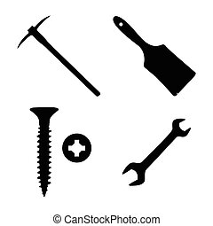 conjunto, de, construcción, iconos