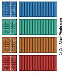 conjunto, de, contenedor carga, plantillas
