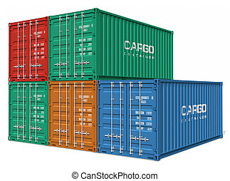 conjunto, de, contenedores carga