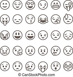 conjunto, de, contorno, emoticons, emoji, aislado, blanco, plano de fondo, vector, illustration.