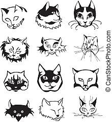 conjunto, de, contorno, gato, cabezas