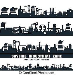 conjunto, de, contorno industrial